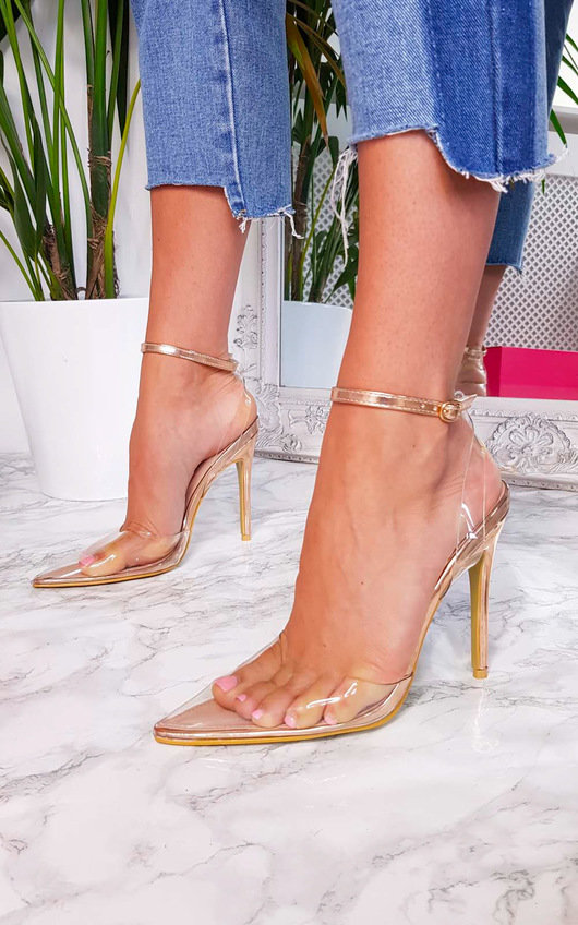Mandy Perspex Pointed Court Heels in Rose gold