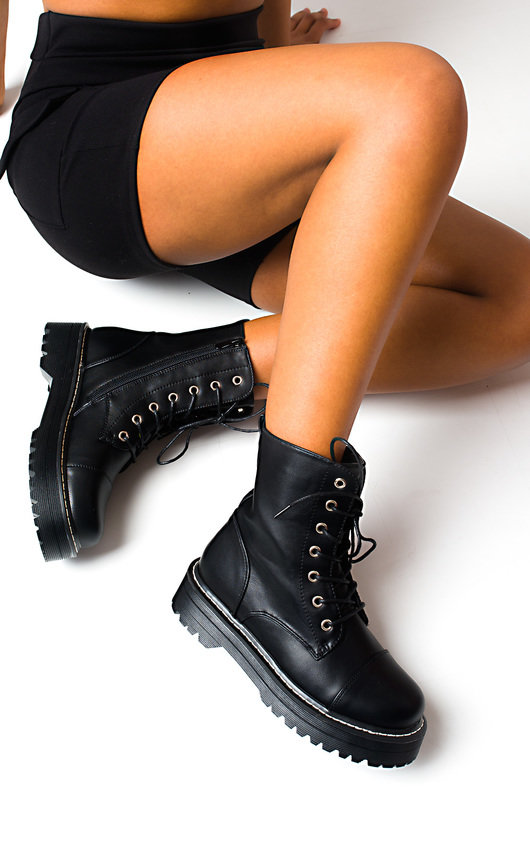 ec852d43c5e Marina Lace Up Biker Boots in Black | ikrush