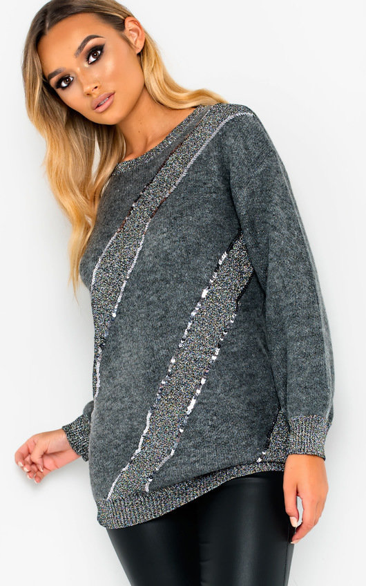 5118f1f9cd Marina Sequin Embellished Knitted Jumper in Grey
