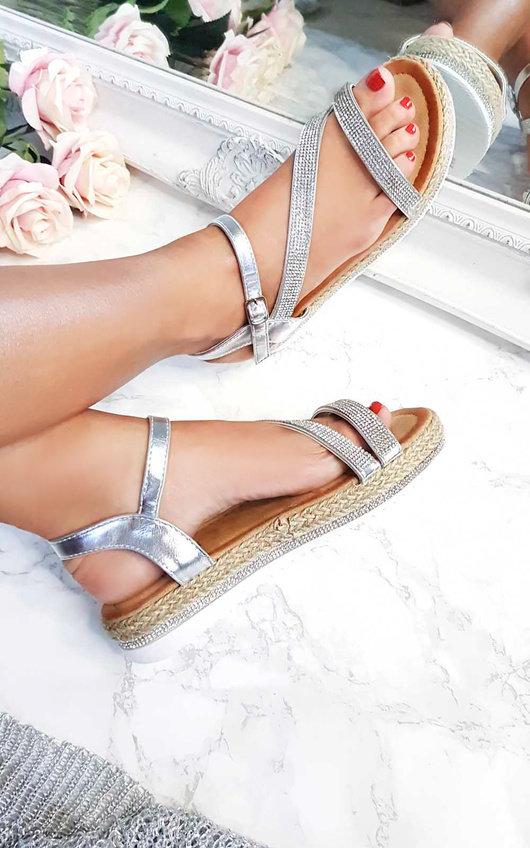 a15b05396e6 Matilda Diamante Flatform Sandals in Silver