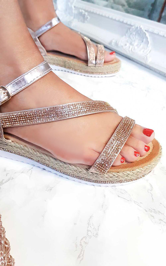7c01827c548 Matilda Diamante Flatform Sandals in Rose gold