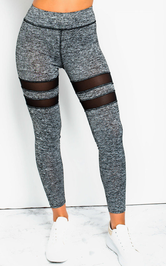a5d5fd9eaa5297 Melani Lycra Mesh Panel Leggings Straight in Grey | ikrush