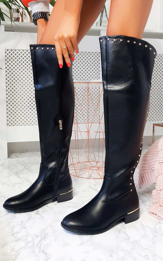 203254c0156f9 Melba Faux Leather Over Knee Boots in Black