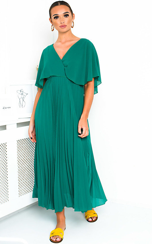 ad7ef970a32 Michaela Pleated Maxi Dress in Green