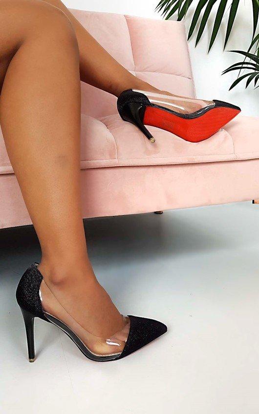 45a19d469dd Mindi Glitter Perspex Court Heels in Black