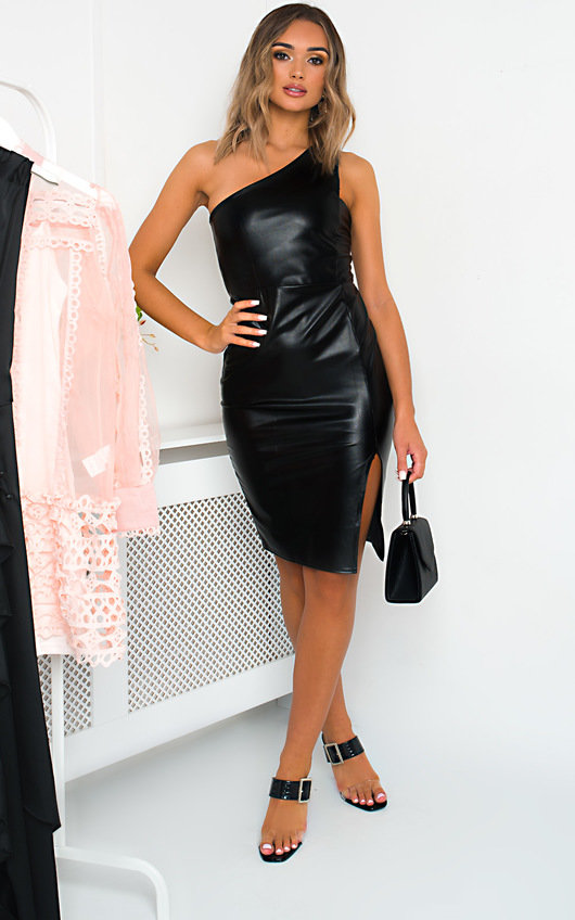 Mindy One Shoulder Faux Leather Dress In Black Ikrush
