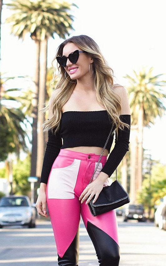 4451833b9c465b Miyka Biker Block Faux Leather Trousers in Pink   ikrush
