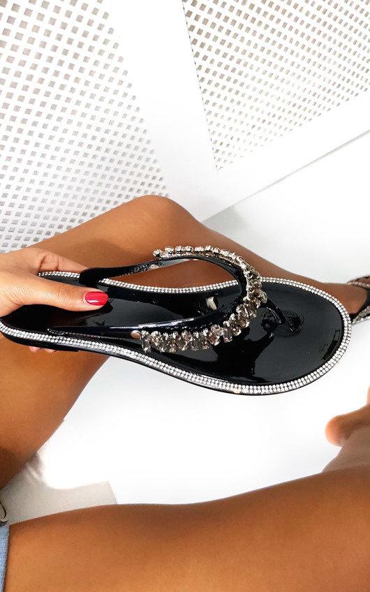 2120b44a1ccc Molls Diamante Flip Flop Sandals in Black