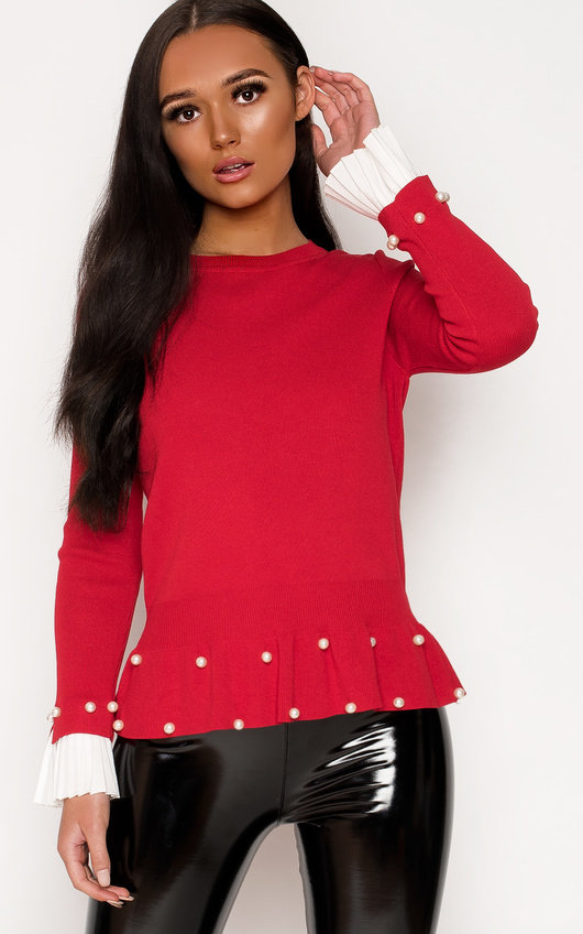 Nelly Pleated Sleeve Beaded Jumper