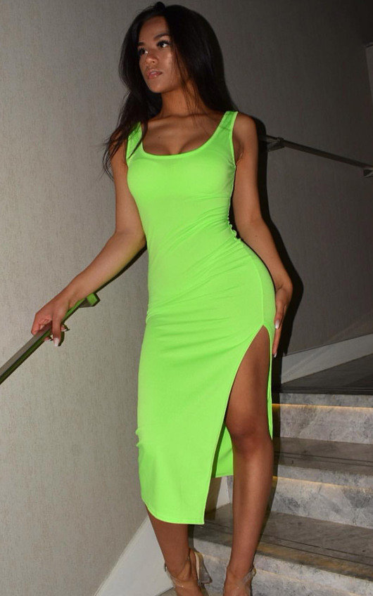 cad6b4b3946 Nicole Side Split Midi Dress in Neon green