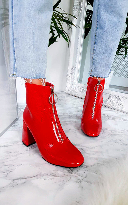 Nina Zip Up Heeled Ankle Boots in Red  3ee3b69c4e61