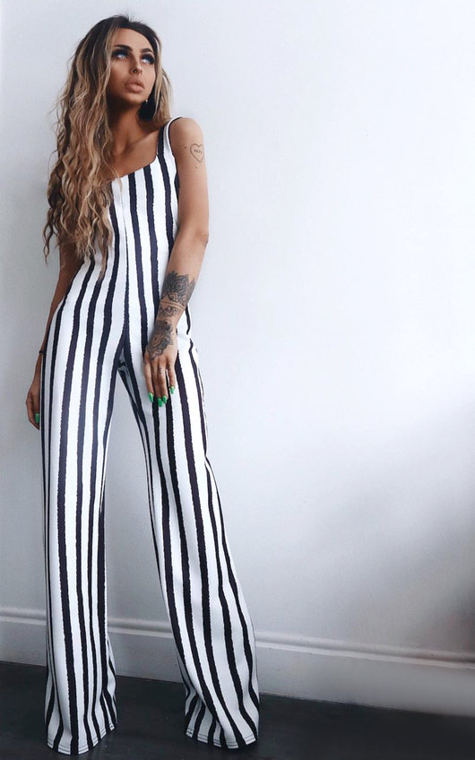 Nora Striped Wide Leg Jumpsuit In Black White Ikrush