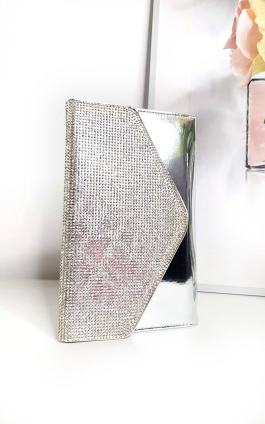 f8b5a6be6e Olivia Diamante Embellished Metallic Clutch Bag. HOVER ITEM TO ZOOM
