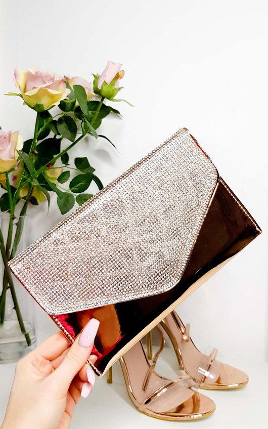 1b4bcea713 Olivia Diamante Embellished Metallic Clutch Bag in Champagne | ikrush