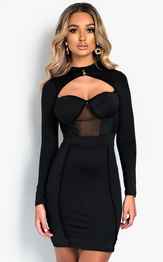 4c6b53b756b9 Perrie Long Sleeve Cut Out Bodycon Dress in Black | ikrush