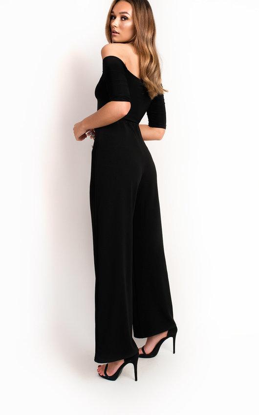 a0ac23edd7a97e Polly High Waist Button Wide Leg Trousers in Black   ikrush