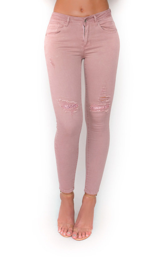 Polly Mid Rise Sequin Style Jeans