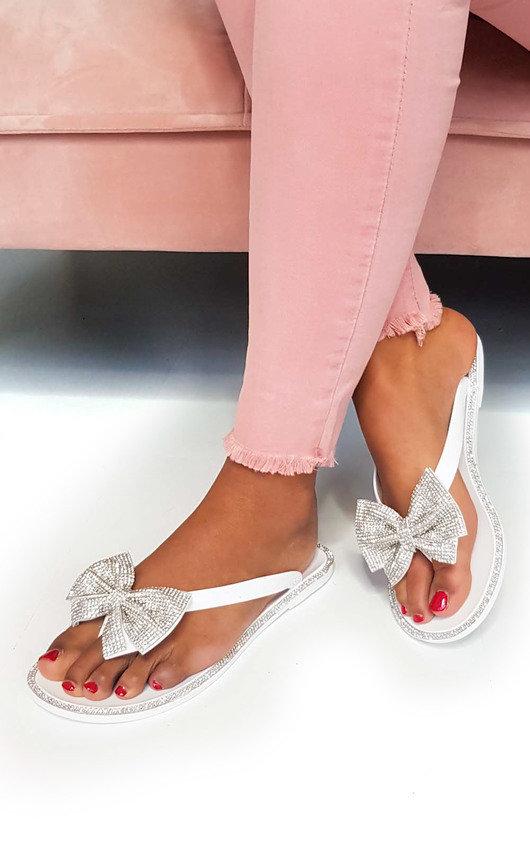 IKRUSH Womens Regina Diamante Bow Flip Flop Sandals