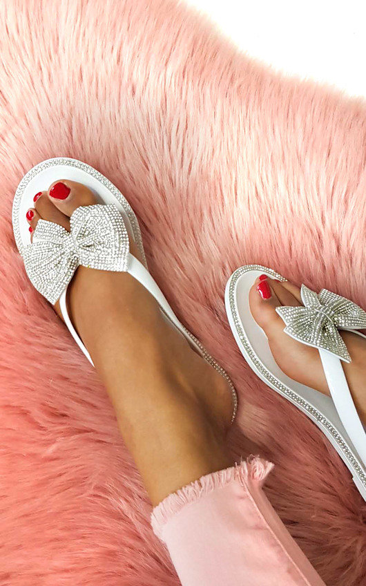 6459520ac4af8 Regina Diamante Bow Flip Flop Sandals in White