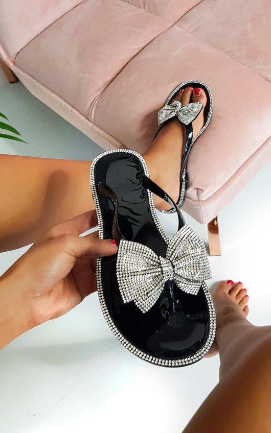 e8a111f17cbe Regina Diamante Bow Flip Flop Sandals in Black