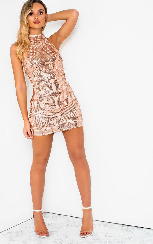 28fe86307f Rendal Halterneck Sequin Mini Dress at ikrush