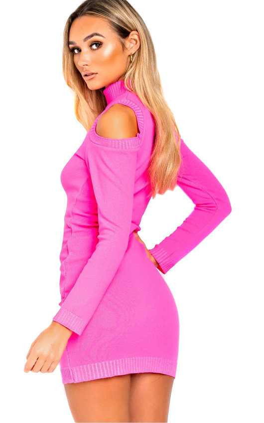 46c4d4bd9a Rizz Oversized Cold Shoulder Jumper Dress in Neon pink