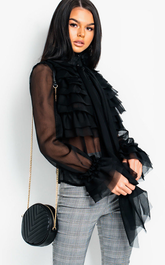 eb8316d632d935 Roisin Ruffle Tie Neck Blouse in Black | ikrush
