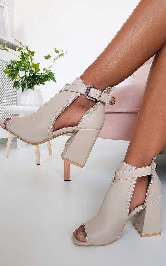 3170d188c64b Ronnie Cut Out Block Heel Boots in Nude