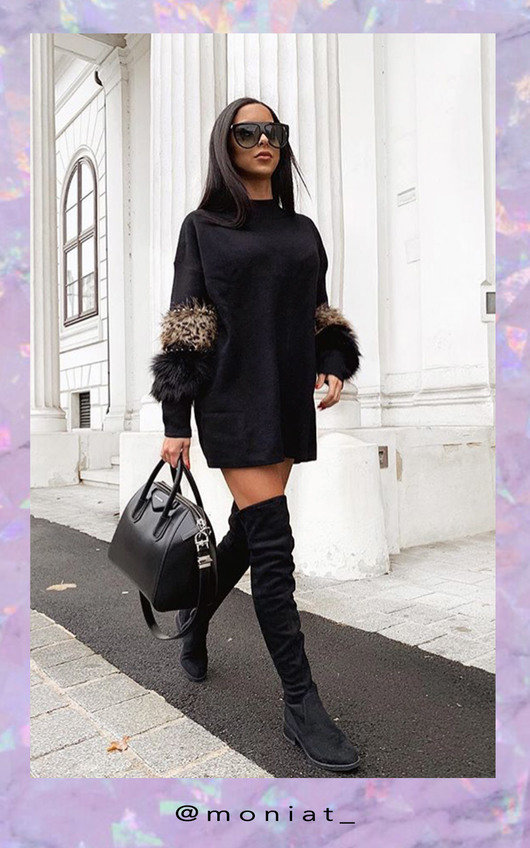 2899e3bf0d Rubie Faux Fur Embellished Jumper Dress in Black
