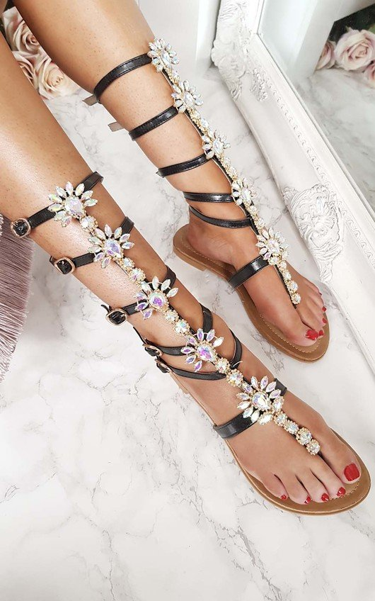 a0760e30baa6 Willow Embellished Gladiator Sandals in Black