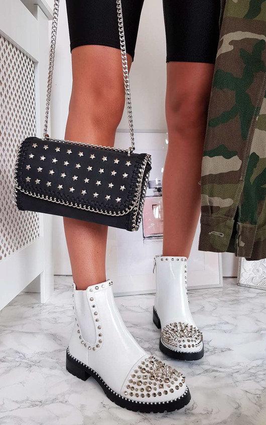 bcfa90b588e09 Sasha Studded Ankle Boots in White | ikrush