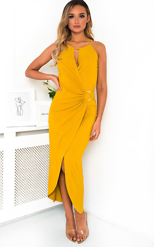 404cecd02b8 Savannah Ring Detail Split Midi Dress. HOVER ITEM TO ZOOM