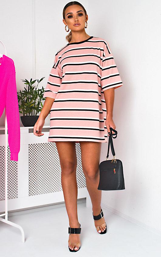 53b1c90e Scarlett Striped Oversized T-Shirt Dress in Pink   ikrush