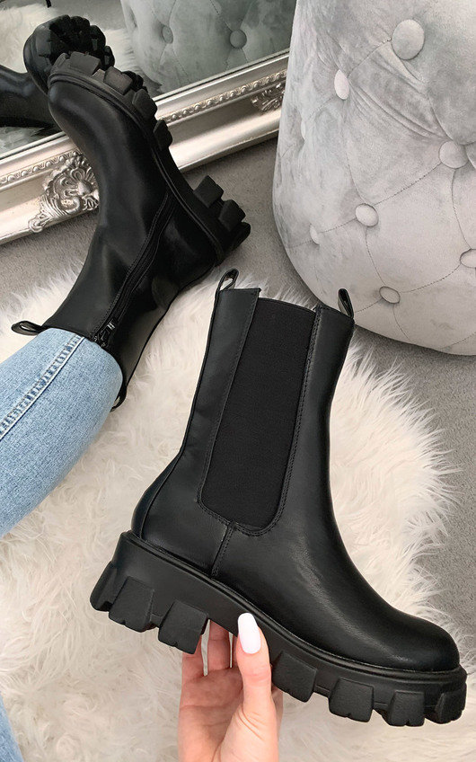 Shanda Faux Leather Long Boots in Black