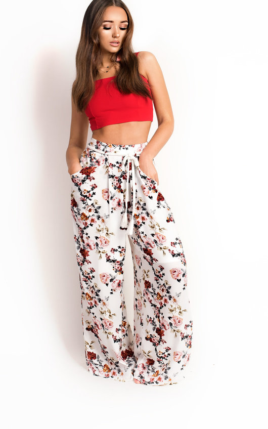 07ef049421c6 Sierra Floral Print Wide Leg Trousers in White | ikrush
