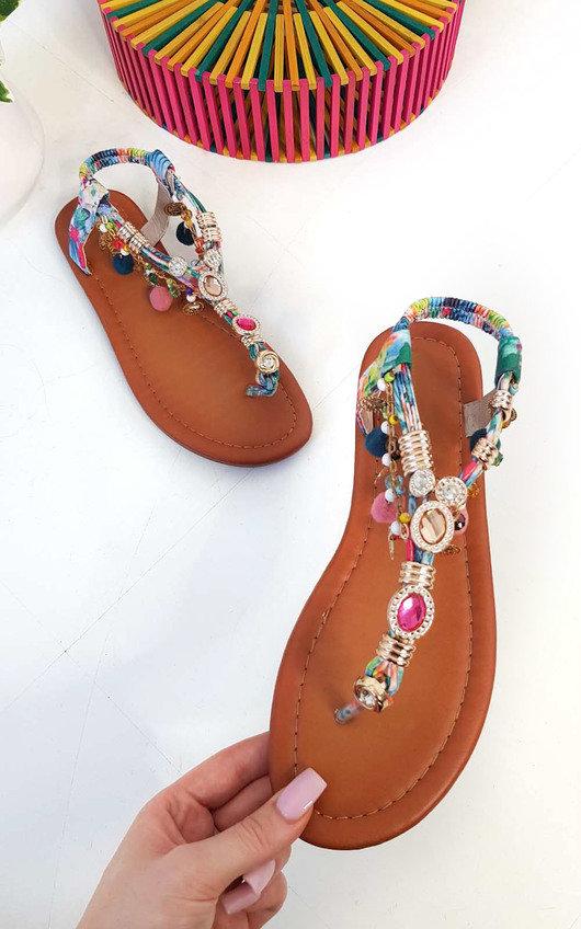 8d5f1c1118b8 Steffi Chain Jewelled T-Bar Sandals in Blue
