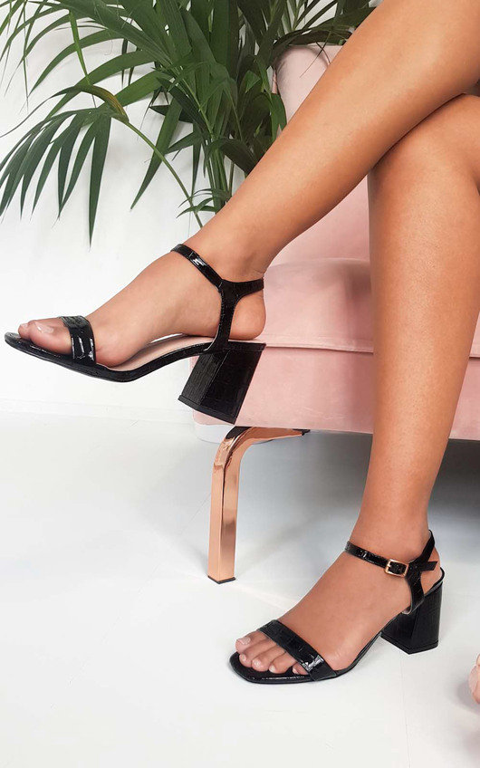5fa2a125c1c Steph Barely There Croc Block Heels in Black