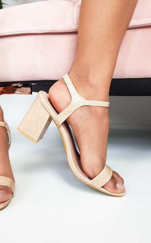ef7e5369a96 Steph Barely There Croc Block Heels in Nude