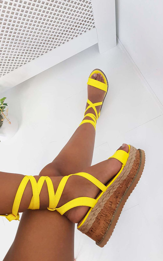 1c79a20276f6 Suzie Cork Strappy Wedge Sandals in Neon yellow