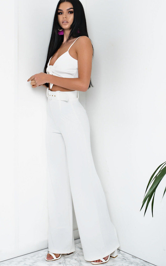 4e411cd54034 Tabby High Waist Belted Wide Leg Trousers in White