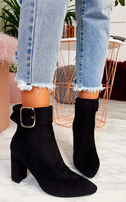 2a86aba00c11 Tani Buckle Block Heel Ankle Boots in Black