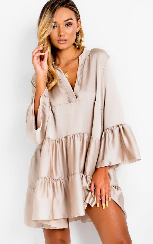 b1cd1d89082 Tayla Flare Smock Dress in Nude