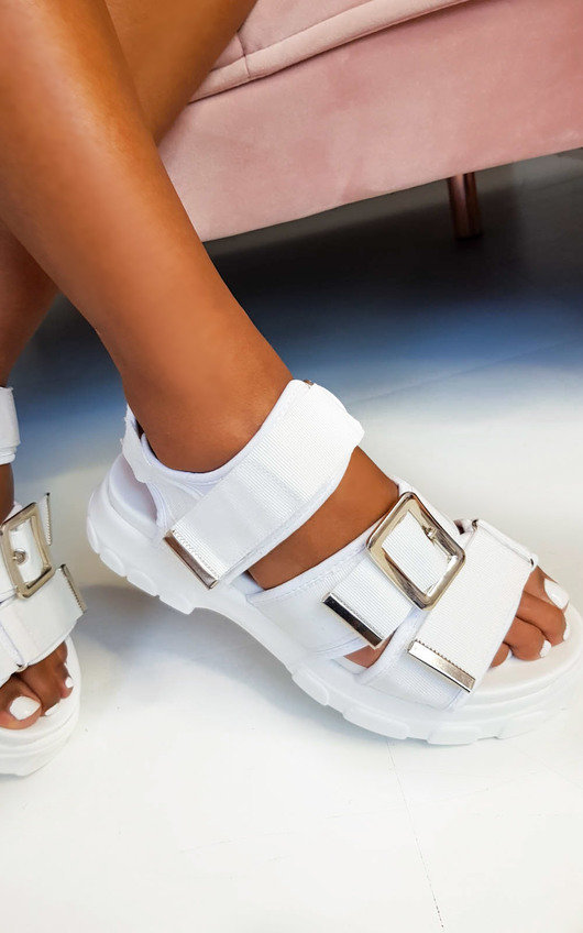 Tessi Chunky Buckle Sandals in White