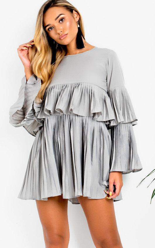 Tessy Frill Shift Dress In Grey Ikrush