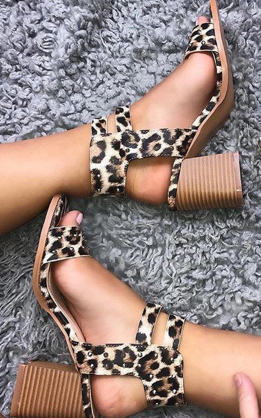 a052d872add Tianah Double Strap Leopard Print Heel Sandals in Leopard