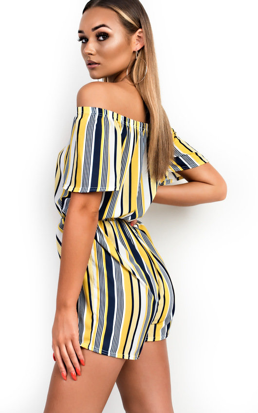 541393066ed HOVER ITEM TO ZOOM. Tina Off Shoulder Striped Playsuit Thumbnail