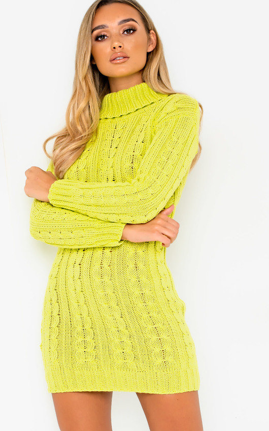 Toni Chunky Knit Long Sleeved Jumper Dress in Lime  6bf02f2a3