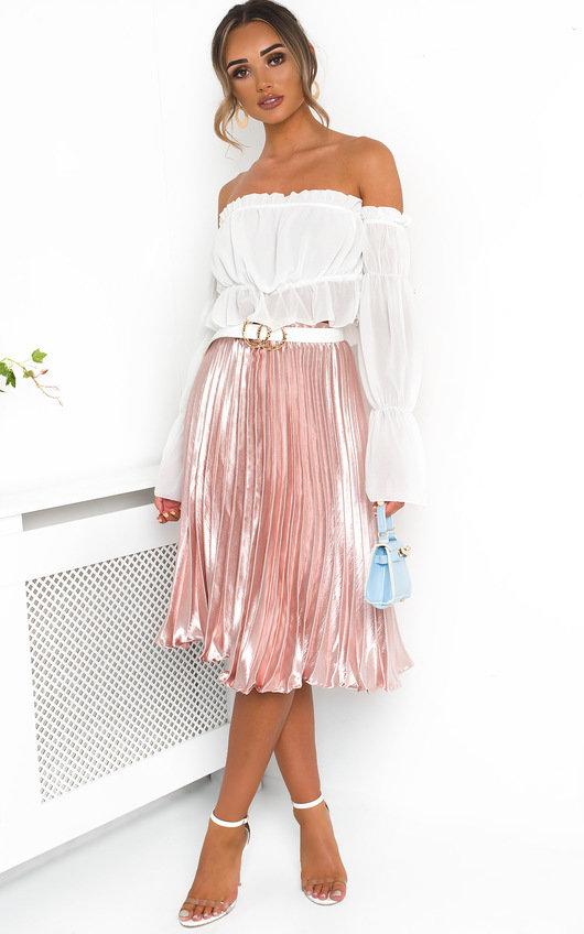 fa415d779a Trina Metallic Pleated Midi Skirt in Rose | ikrush