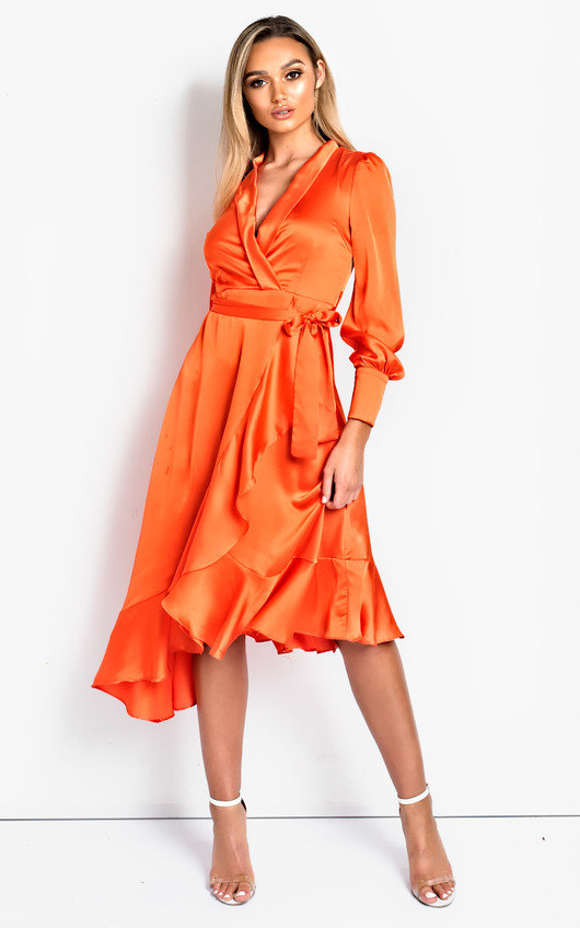 08d53e03769 Tyla Satin Wrap Midi Dress. HOVER ITEM TO ZOOM