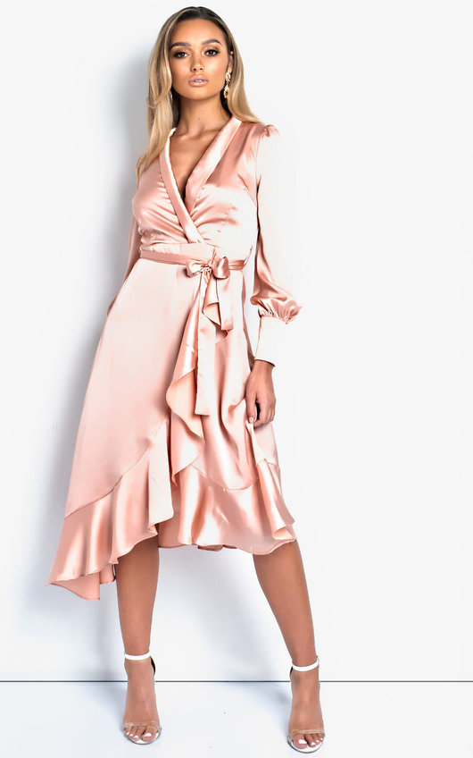 3245d7342b796 Tyla Satin Wrap Midi Dress in Rose | ikrush